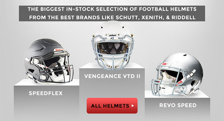 THE BIGGEST IN-STOCK SELECTION OF FOOTBALL HELMETS FROM BRANDS LIKE SCHUTT, XENITH, & RIDDELL - FOOTBALL HELMETS - SPEEDFLEX, REVO SPEED, VENGEANCE VTD II