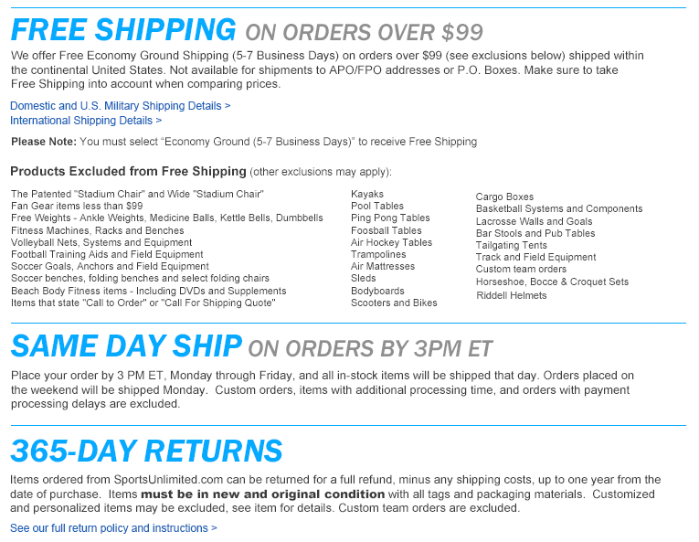 Free Shipping over $99 Details