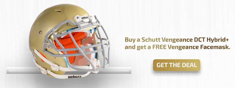 Buy a Schutt Vengeance Youth DCT Hybrid+ and get a Vengeance Facemask Free